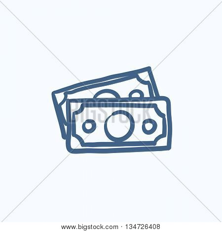 Money banknotes vector sketch icon isolated on background. Hand drawn Money banknotes icon. Money banknotes sketch icon for infographic, website or app.