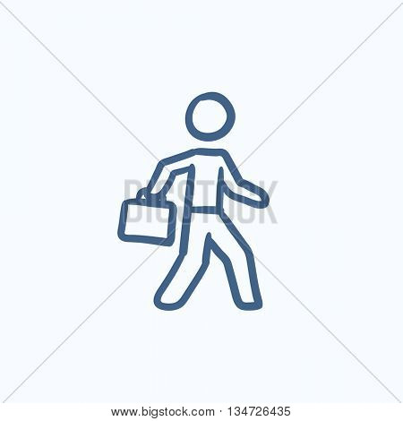 Businessman walking with briefcase vector sketch icon isolated on background. Hand drawn Businessman with briefcase icon. Businessman with briefcase sketch icon for infographic, website or app.