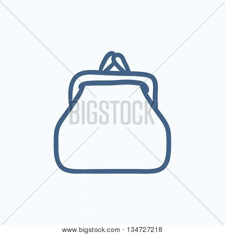 Purse sketch icon for web, mobile and infographics. Hand drawn Purse icon. Purse vector icon. Purse icon isolated on white background.