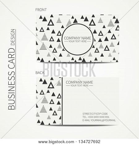 Vector simple business card design. Template. Black and white. Business card for corporate business and personal use. Calling card. Geometric monochrome triangle pattern. Delta, trigon.