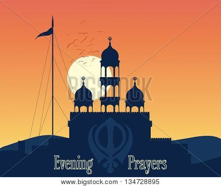 an illustration of a sikh gurdwara at sunset in the hills of india at the time of evening prayers
