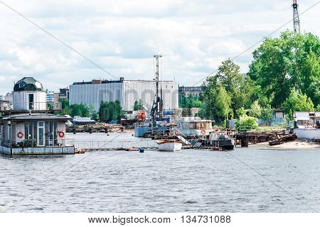 Floating Jetty On The River