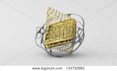 3D Computer rendering illustration of skinned particle objects pyramid on white background