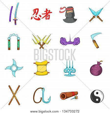 Ninja icons set in cartoon style isolated on white background