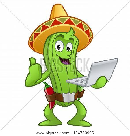 Sympathetic cactus with a laptop computer in hand