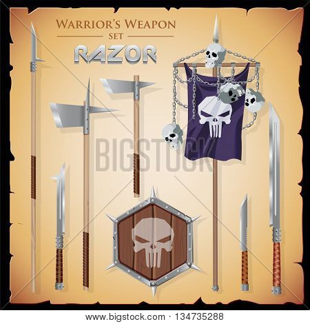 Set short-range weapons in the same style Razor, straight, sharp with a hexahedral shield and flag with a skulls and chains on parchment background.