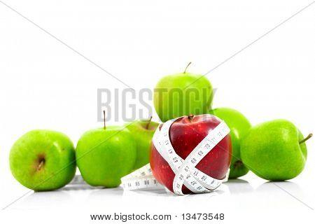 Äpfel gemessen, der Meter, Sport-Äpfel