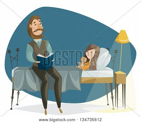 Father reading bedtime story to his daughter. Funny cartoon characters. Vector illustration in retro style