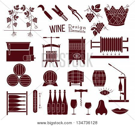 Mega collection of wine making and wine tasting process design elements in modern mono black simple style isolated on white background. Winery icons. Wine logo. Vector illustration.
