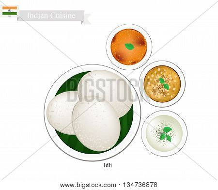 Indian Cuisine Illustration of Idli or Traditional Steamed Soft and Spongy Rice Cake Served with Sambar Coconut Chutney and Dal Tadka. One of The Most Popular Dish in India.