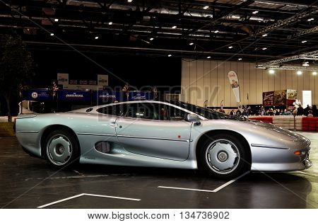 LONDON - JANUARY 10: A vintage Jaguar XJ220 super sportscar is put on public display at the inaugural London Classic Car Show event held at the Excel arena on January 10, 2015 in London