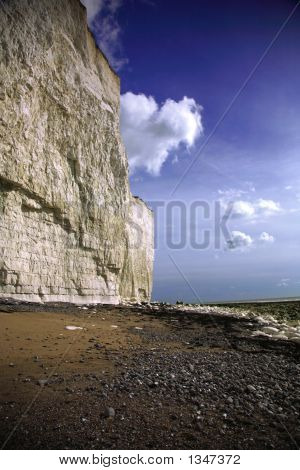 the sheer cliffs at birling gap beach. poster