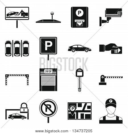 Car parking icons set in simple style isolated on white background