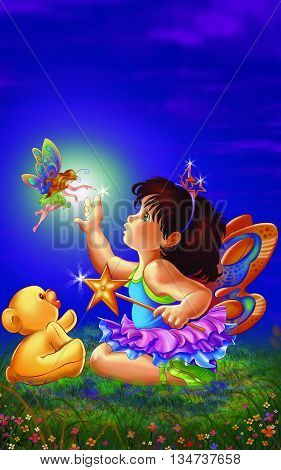 Scene Little Baby Fairy / Fairy with Butterfly