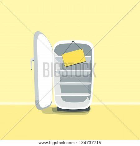 Opened empty broken fridge vector illustration in cartoon style. Broken fridge standing in front of yellow wall. Sign board hanging on a broken old fridge.