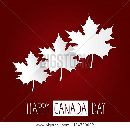Happy Canada Day red background with maple leafs. Handwritten text. Vector illustration.