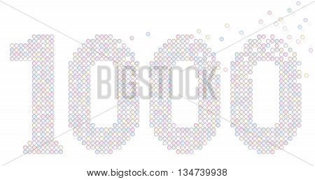 Thousand pastel colored bubbles representing number THOUSAND - exactly counted - illustration on white background.