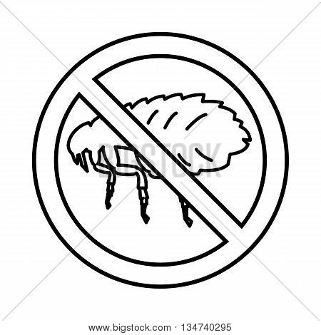 No flea sign icon in outline style isolated on white background