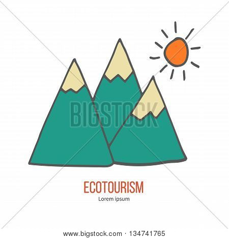 Mountains and sun. Ecotourism colorful flat design element isolated on a white background. Emblem, design concept, logo, logotype template. Hand drawn doodle vector illustration.