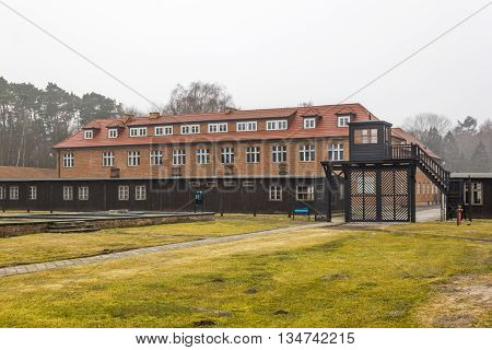 SZTUTOWO, POLAND - MARCH 18: Death Gate and the headquarters of the commander in the Nazi concentration camp in Sztutowo on March 18, 2012 in Sztutowo.