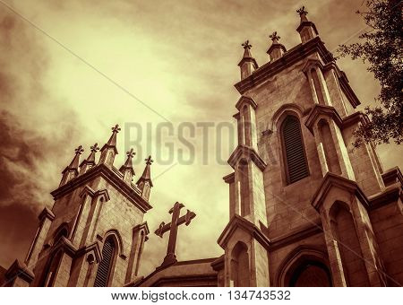 Historic Gothic Style Episcopal Cathedral Against Sky