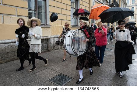 Saint-Petersburg Russia - June 16 2016: Bloomsday the annual worldwide festival fans the famous Irish writer James Joyce. Costume parade through the streets of the city.