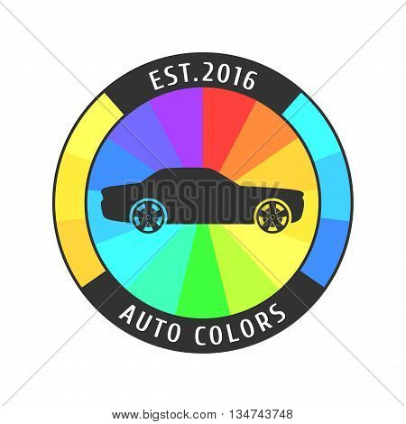 Car paint vector logo template badge icon. Airbrushing concept