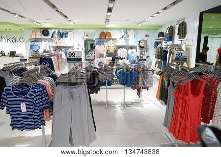 KUALA LUMPUR, MALAYSIA - MAY 09, 2016: Bershka store in Suria KLCC. Suria KLCC is located in the Kuala Lumpur City Centre district. It is in the vicinity of the landmark the Petronas Towers.