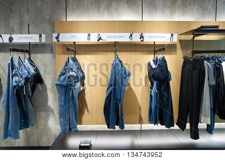 KUALA LUMPUR, MALAYSIA - MAY 09, 2016: Calvin Klein store in Suria KLCC. Calvin Klein Inc. is an American fashion house founded by the fashion designer Calvin Klein.