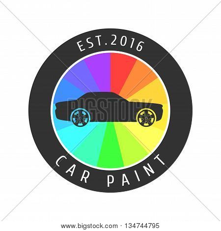 Car paint vector logo template badge icon. Car airbrushing concept
