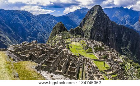 Panoramic view of the city of Macchu Pichu in Peru