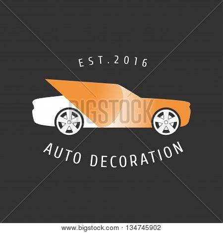Car paint auto decoration vector logo. Car airbrushing concept