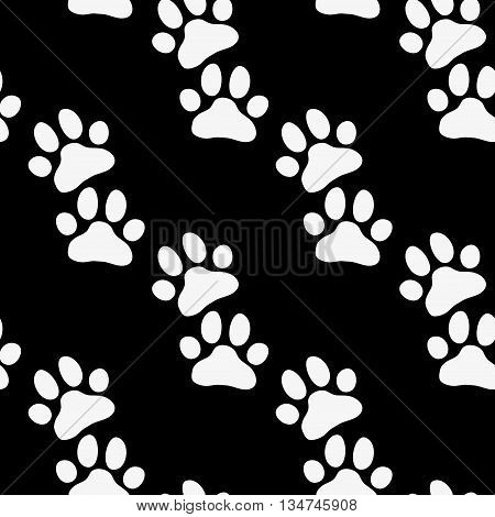 Paw zoo pattern. Black and white illustration for zoo design.