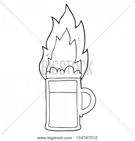 freehand drawn black and white cartoon flaming tankard of beer