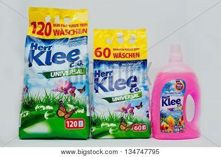 Berezovitsa, Ukraine - Circa June, 2016: Set Of Washing Powder And Gel From Germany, Herr Klee