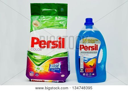Berezovitsa, Ukraine - Circa June, 2016: Set Of Washing Powder And Gel Persil