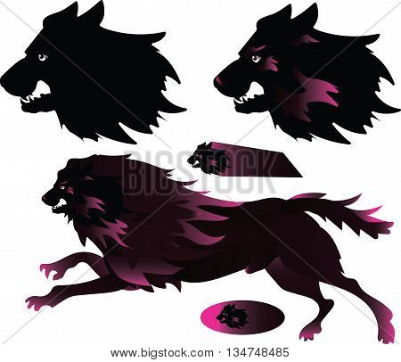 hell hounds - vector drawing evil predator
