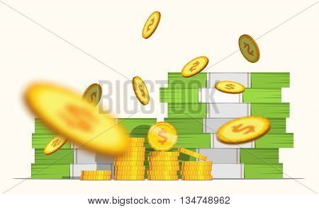 Big stacked pile of cash banknotes and some blur gold coins. Flat style illustration. EPS 10 vector.