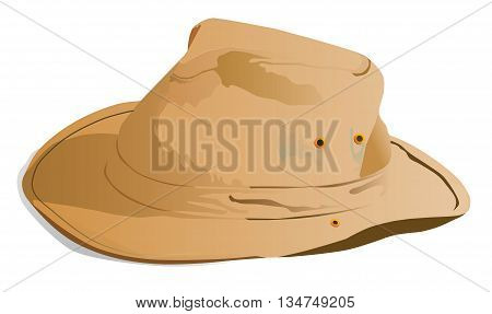 Illustration of an old canvas hat on a white background