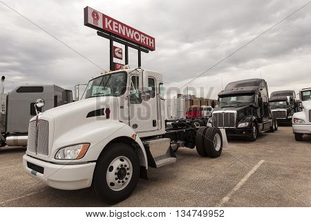 DALLAS USA - APR 9: New Kenworth T270 flatbed truck chassis at the dealership. April 9 2016 in Dallas Texas United States