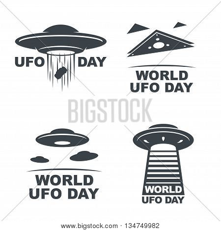 World UFO Day. Vector set of four emblems. EPS10 Vector.