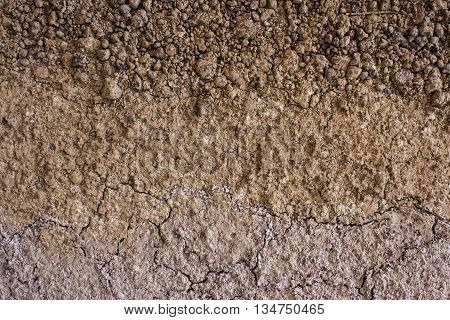 Red dry clay loam closeup as background