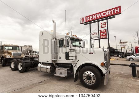DALLAS USA - APR 9: Classic Peterbilt Model 389 Semitrailer Truck at the dealership. April 9 2016 in Dallas Texas United States