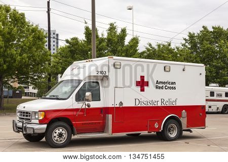 DALLAS USA - APR 9: American Red Cross Disaster Relief Vehicle in Dallas April 9 2016 in Dallas Texas United States