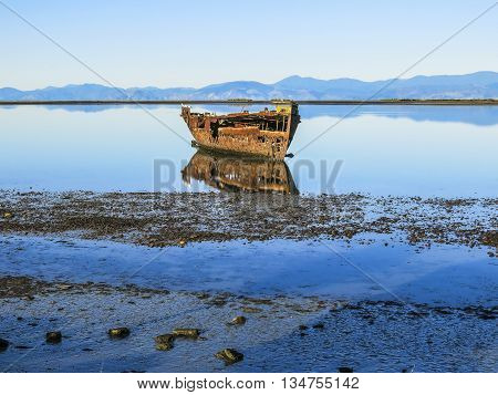 Abandoned ship in the coast of Motueka, New Zealand