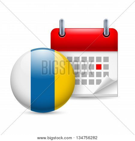 Calendar and round flag icon. National holiday in Canary Islands