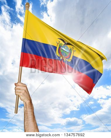 Person's hand holding the Ecuadorian national flag and waving it in the sky, 3D rendering