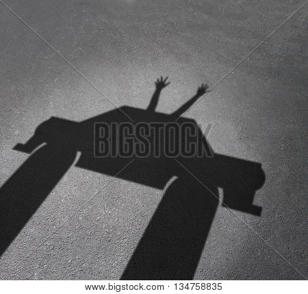 Autonomous driving and driverless car concept and safety system symbol as a cast shadow of an auto with human hands and arms waving up as a metaphor for hands free autopilot computer technology in A 3D illustration style.