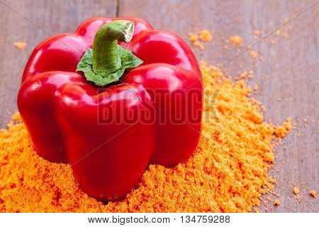 Powder And Fresh Red Paprika