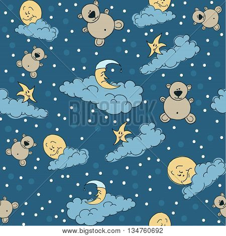 Bears moon and stars on the clouds for sweet dreams seamless textile pattern